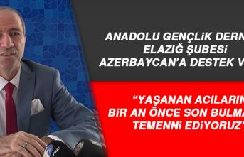 Anadolu Gençlik Derneği Elazığ Şubesi Azerbaycan'a Destek Verdi