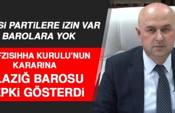 Elazığ Baro Başkanı Yentür, Alınan Karara Tepki Gösterdi
