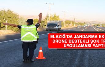 Elazığ'da Jandarma Ekipleri Drone Destekli Şok Trafik Uygulaması Yaptı