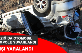 Elazığ'da Otomobil Şarampole Yuvarlandı