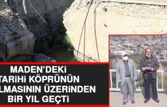 Maden'de Geçen Yıl Yıkılan Köprünün Önünde Açıklama Yapıldı