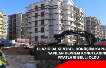 Elazığ'da Kentsel Dönüşüm Kapsamında Yapılan Evlerin Arsa Fiyatları Belli Oldu