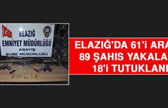 Elazığ'da 61'i Aranan 89 Şahıs Yakalandı, 18'i Tutuklandı!