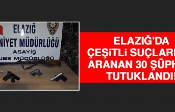 Elazığ'da Çeşitli Suçlardan Aranıp Yakalanan 30 Şüpheli Tutuklandı!