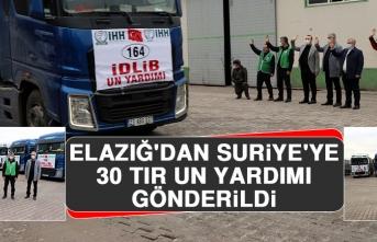 Elazığ'dan Suriye'ye 30 Tır Un Yardımı Gönderildi