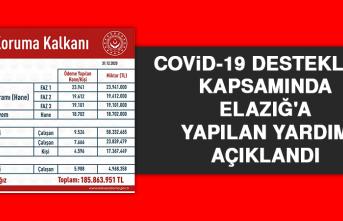 Covid-19 Destekleri Kapsamında Elazığ'a Yapılan Yardım Açıklandı