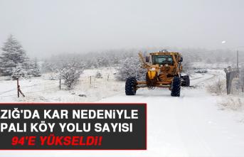 Elazığ'da Kar Nedeniyle Kapalı Köy Yolu Sayısı 94'e Yükseldi!