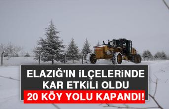Elazığ'ın İlçelerinde Kar Etkili Oldu, 20 Köy Yolu Kapandı!
