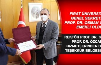 Emekli Olan F.Ü. Genel Sekreteri Prof. Dr. Özcan'a Teşekkür Belgesi Verildi