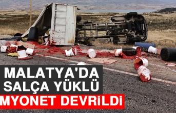 Malatya'da Salça Yüklü Kamyonet Devrildi
