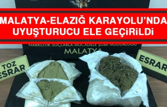 Malatya-Elazığ Karayolu'nda Uyuşturucu Ele Geçirildi