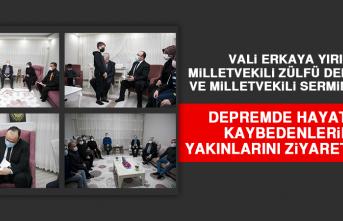 Vali Erkaya Yırık, Milletvekili Zülfü Demirbağ ve Milletvekili Sermin Balık, Depremde Hayatını Kaybedenlerin Yakınlarını Ziyaret Etti
