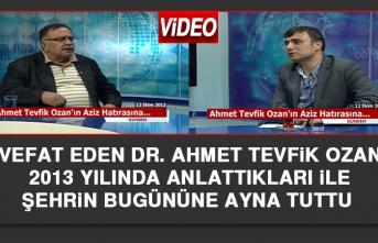 Vefat Eden Dr. Ahmet Tevfik Ozan 2013 Yılında Anlattıkları İle Şehrin Bugününe Ayna Tuttu
