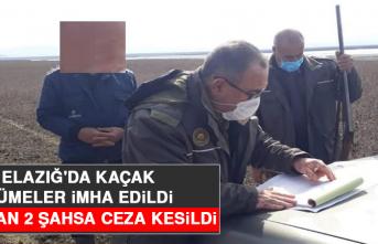 Elazığ'da Kaçak Gümeler İmha Edildi, Avlanan 2 Şahsa Ceza Kesildi