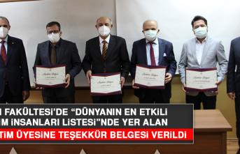 Fırat Üniversitesi Fen Fakültesi'nde 4 Öğretim Üyesine Teşekkür Belgesi Verildi