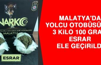 Malatya'da Yolcu Otobüsünde 3 Kilo 100 Gram Esrar Ele Geçirildi