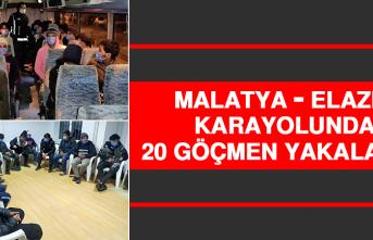 Malatya - Elazığ Karayolunda 20 Göçmen Yakalandı