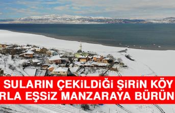Suların Çekildiği Şirin Köy Karla Eşsiz Manzaraya Büründü