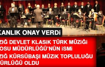 Elazığ Devlet Klasik Türk Müziği Korosu Müdürlüğü'nün İsmi Değişti