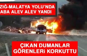 Elazığ-Malatya Yolu'nda Bir Araba Alev Alev Yandı