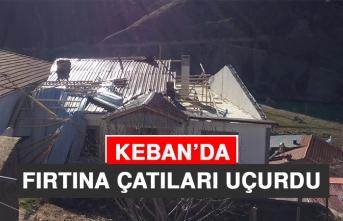 Keban'da Fırtına Çatıları Uçurdu