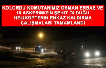 Kolordu Komutanımız Osman Erbaş ve 10 Askerimizin Şehit Olduğu Helikopterin Enkaz Kaldırma Çalışmaları Tamamlandı