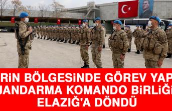 Suriye'nin Afrin Bölgesinde Görev Yapan Jandarma Komando Birliği Elazığ'a Döndü