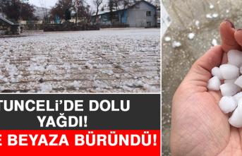 Tunceli'de Dolu Yağdı, İlçe Beyaza Büründü