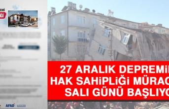 AFAD İl Müdürlüğü 27 Aralık Depreminin Hak Sahipliği Müracaat Tarihini Açıkladı