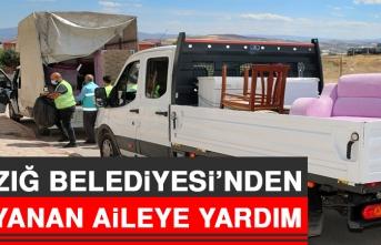 Elazığ Belediyesi'nden Evi Yanan Aileye Yardım