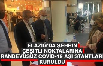 Elazığ'da Şehrin Çeşitli Noktalarına Randevusuz Covid-19 Aşı Stantları Kuruldu