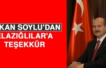 Bakan Soylu'dan Elazığlılar'a Teşekkür