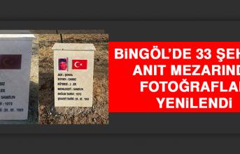 Bingöl'de 33 Şehidin Anıt Mezarında Fotoğraflar Yenilendi