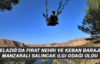 Elazığ'da Fırat Nehri ve Keban Barajı Manzaralı Salıncak İlgi Odağı Oldu