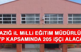 Elazığ İl Milli Eğitim Müdürlüğü TYP Kapsamında 205 İşçi Alacak