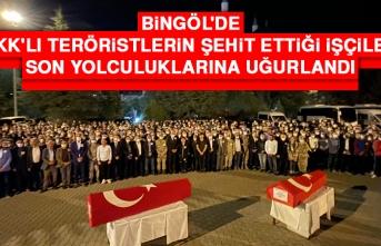 Bingöl'de PKK'lı Teröristlerin Şehit Ettiği İşçiler Son Yolculuklarına Uğurlandı