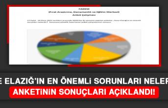"""""""Sizce Elazığ'ın En Önemli Sorunları Nelerdir?"""" Anketinin Sonuçları Açıklandı"""