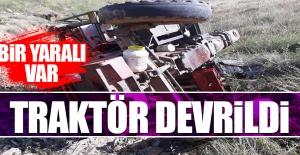 Keban'da Devrilen Traktörün Sürücüsü Yaralandı