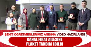 Şehit Önder Pınar Ortaokulu Tarafından Kanal Fırat Ailesine Plaket Takdim Edildi
