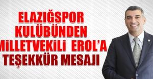 Elazığspor'dan Gürsel Erol'a Teşekkür Mesajı
