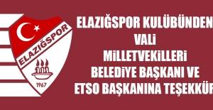 Elazığspor Kulübünden İl Yöneticilerine Teşekkür Mesajı