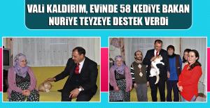 Vali Kaldırım, Evinde 58 Kediye Bakan Nuriye Teyzeye Destek Verdi