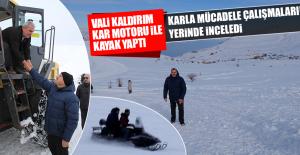 Vali Kaldırım, Kar Motoru İle Kayak Yaptı