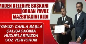 Maden Belediye Başkanı Yavuz Mazbatasını Aldı