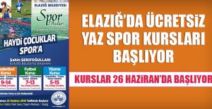 Elazığ'da Ücretsiz Yaz Spor Kursları Başlıyor