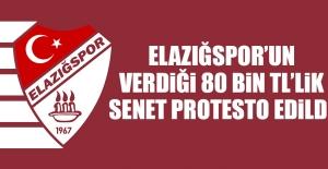 Elazığspor'un Verdiği 80 Bin TL'lik Senet Protesto Edildi