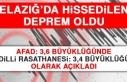 Elazığ'da Hissedilen Deprem Oldu!