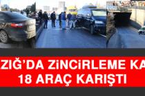 Elazığ'da Zincirleme Kaza, 18 Araç Karıştı