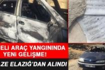 Elazığ'daki Şüpheli Araç Yangınında Yeni Gelişme