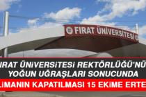 Fırat Üniversitesi Rektörlüğü'nün Yoğun Uğraşları Sonucunda Havalimanın Kapatılması 15 Ekime Ertelendi
